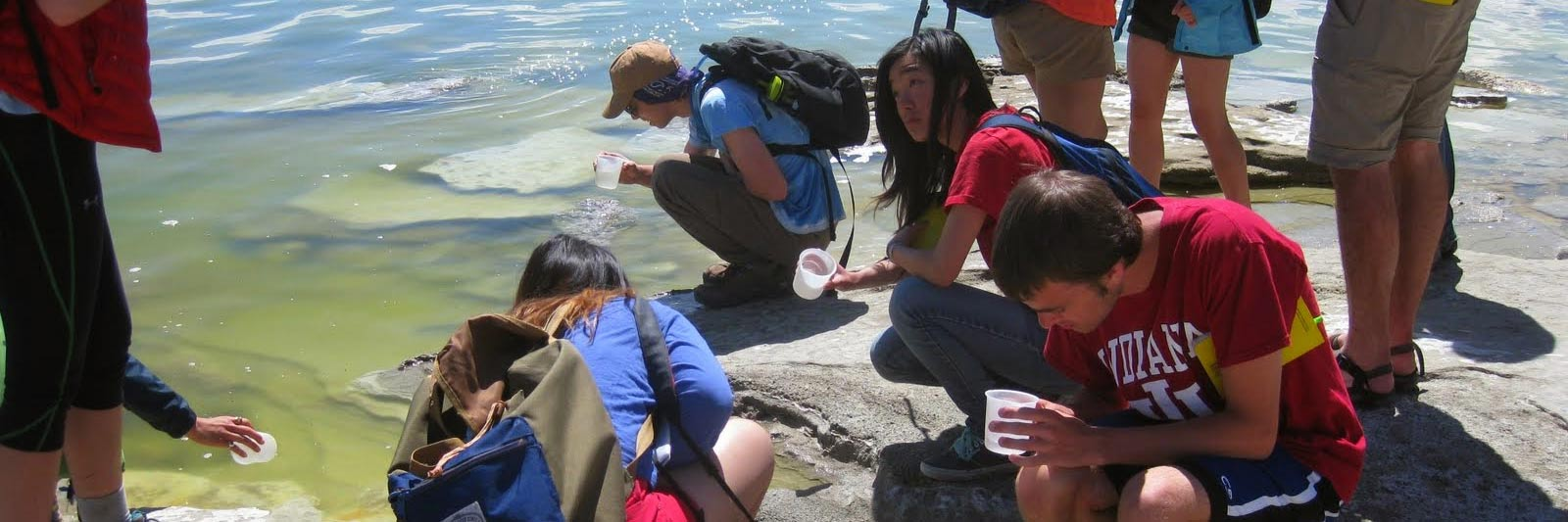 Students collecting water samples in Sierra Nevada