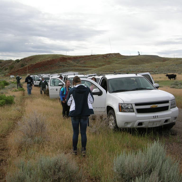 Research team exiting a caravan of vehicles