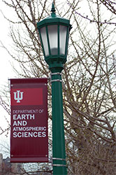 Banner of the Earth and Atmospheric Sciences name on a light post